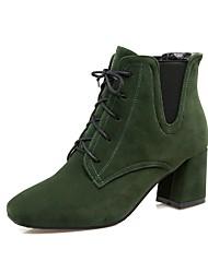 Feminino Sapatos Flocagem Outono Inverno Conforto Botas Salto Grosso Ponta quadrada Cadarço Para Preto Vermelho Verde