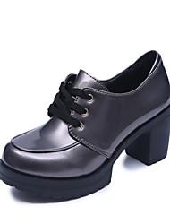 Damen Schuhe PU Sommer Leuchtende Sohlen Outdoor Block Ferse Runde Zehe Schnürsenkel Für Normal Schwarz Silber