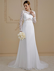A-Line Illusion Neckline Court Train Chiffon Lace Wedding Dress with Lace Lace-up by LAN TING BRIDE®