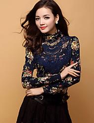 Tee-shirt Femme,Imprimé Décontracté / Quotidien Grandes Tailles simple Automne Hiver Manches Longues Col Roulé Coton Rayonne