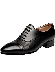"""Men's Latin Real Leather Oxford Outdoor Chunky Heel Black 2"""" - 2 3/4"""""""