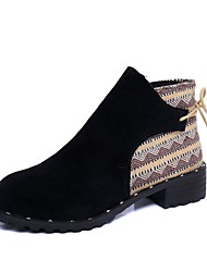 Women's Shoes PU Fall Comfort Bootie Boots Low Heel Pointed Toe Booties/Ankle Boots Zipper For Casual Khaki Black