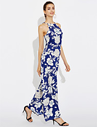 Women's Floral Patterns Going out Party Vintage Simple Sheath Dress,Floral Round Neck Maxi Sleeveless Others Summer Mid Rise Micro-elastic Medium