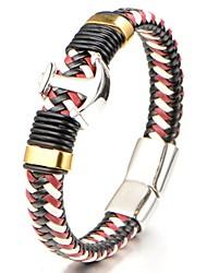 Муж. Браслет цельное кольцо Браслет разомкнутое кольцо Бижутерия Мода Открытые Кожа Титановая сталь Круглой формы Бижутерия Назначение