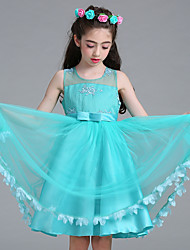 Платье девушки с длинным рукавом из принцессы с длинным рукавом и атласной сеткой без бретелек с шеей с лентой by baihe