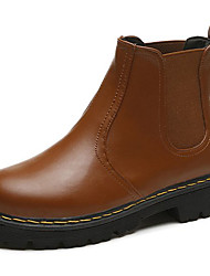 Damen Schuhe PU Herbst Winter Komfort Stiefeletten Stiefel Niedriger Absatz Runde Zehe Für Normal Schwarz Grau Hellbraun