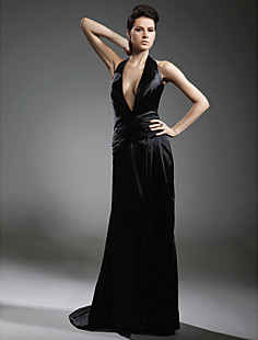 Stretch Satin Sheath/ Column V-neck Sweep/ Brush Train Evening Dress inspired by Grammy
