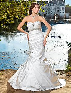 트럼펫 / 인어 아가씨 strapless 새틴 웨딩 드레스