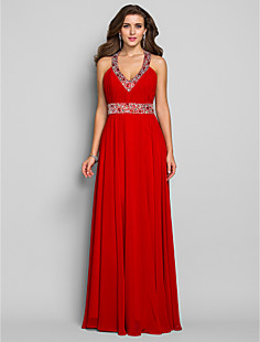 Sheath/Column V-neck Floor-length Chiffon Evening/Prom Dress (590992)