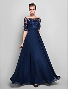Sheath/Column Off-the-shoulder Floor-length Chiffon And Tulle Evening Dress (551359)
