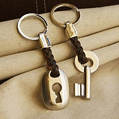 """Hemp Roped in Love"" Key & Lock Keyring Set in Velvet Gift Bag"