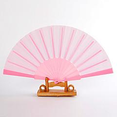 Pink Silk Hand Fans (set of 6)