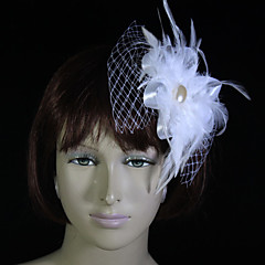 Femme / Jeune bouquetière Plume / Tulle Casque-Mariage / Occasion spéciale Coiffure / Fleurs