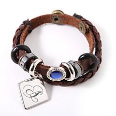 personlig läderarmband med charm och blå pärla
