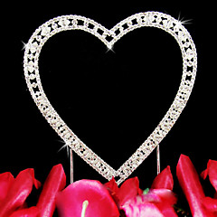 Cake Topper Classic Couple / Hearts Wedding / Bridal Shower / Anniversary Rhinestone Silver Garden Theme / Classic Theme OPP