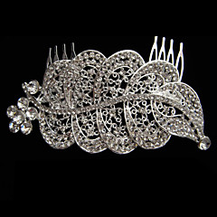 Alloy With Rhinestone And Pearl Cutout Leaf Bridal Comb