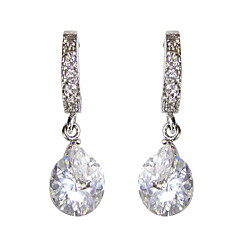 Elegant White Platinum Plated With  Irregular Shape Cubic Zirconia Earrings