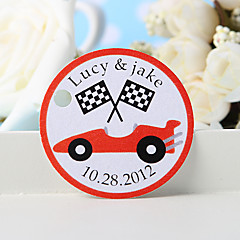 Personalized Favor Tag - Red Car (Set of 36)