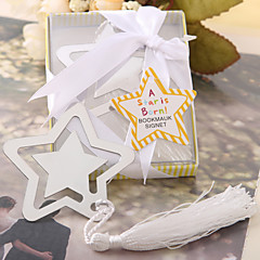 """A Star Is Born"" Metal Bookmark Favor With White Silk Tassel"