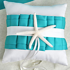 temático da praia azul travesseiro anel de casamento com estrela do mar