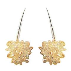 독특한 노란색 백금 꽃 모양 큐빅 지르코니아 귀걸이와 도금