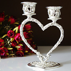 Wedding Décor Silver Plated Heart Candle Holder