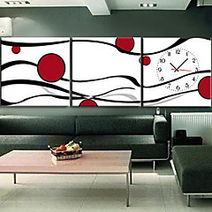 """12 """"-24"""" Modern Style Abstract Wall Clock in Canvas 3pcs"""