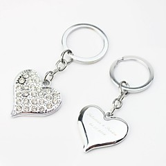 Personalized Heart Design Keyring With Rhinestone (Set of 4)