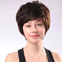 Capless Kurze Chocolate Brown Curly Mixed Haar-Perücken