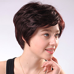 Capless Kurze Chocolate Brown Curly Mixed Haar-Perücken Side Bang