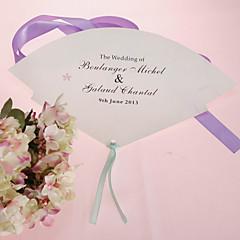 fan personalizado pérola papel mão - print-de-rosa (conjunto de 12)