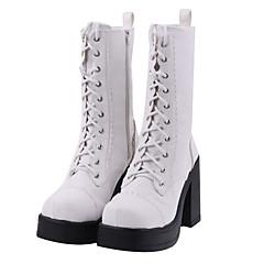 Handgemaakte witte PU leder 11cm hoge hakken Classic Lolita Boots