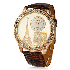 PU Round Quartz Movement with Crystal Women's Watch(More Colors)