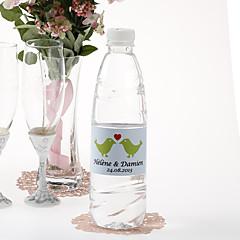 מדבקת בקבוק מים אישית - ציפורים (נשיקות / ירוק סט של 15)
