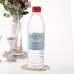 Personalized Water Bottle Sticker - Swans (Blue/Set of 15)