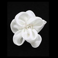 White Imitation Pearl Cloth Flower Wedding Bridal Brooch