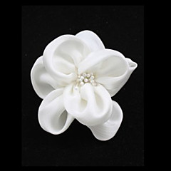 White Pearl imitace Cloth Květina Svatba Svatební Brož