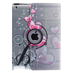 Capa de Couro Inteligente e Suporte Ajustável com Rotação de 360 Graus com Padrão de Corações e Flores para iPad 2/3/4