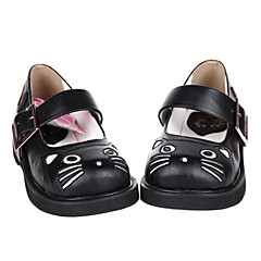 Lolita Shoes Sweet Lolita Handmade Flat Heel Shoes Solid 3 CM For PU Leather/Polyurethane Leather