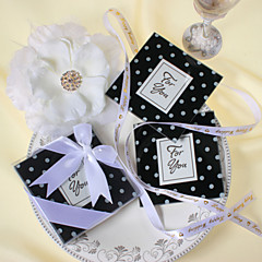 """Mod Dots"" Black & White Polka-Dot Glass Photo Coasters Favor (Set of 2)"