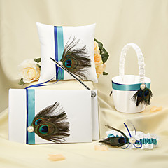 Blue Stripe With Peacock Feather White Wedding Collection Set(4 Pieces) Peacock Wedding
