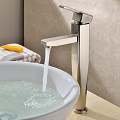 Zeitgenössisch Becken Einhand Ein Loch in Gebürsteter Nickel Waschbecken Wasserhahn
