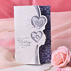 Double Heart Design Wedding Invitation - Set of 50
