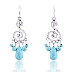 Vintage Turqoise Music Symbol Pendant Earrings