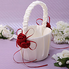 Chic Flower Basket In Ivory Satin With Rose Petals Flower Girl Basket