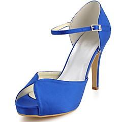 FemininoSaltos / Peep Toe-Salto Agulha-Preto / Azul / Amarelo / Rosa / Roxo / Vermelho / Marfim / Branco / Prateado / Dourado-Cetim com