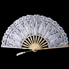 White Crown Design Lace Hand Fan