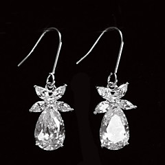 Beautiful Platinum Plated With Zircon Leaf Shaped Women's Drop Earrings