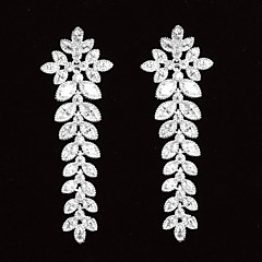 Graceful Platinum Plated With Zircon Leaf Shaped Women's Drop Earrings