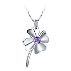 Elegant Flower-Shape Kvinders slivery Alloy Necklace (1 PC) (lilla, hvid)